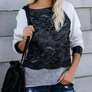 Vici Mixed Media Contrast Pullover